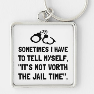 Jail Time Silver-Colored Square Key Ring