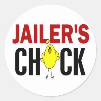JAILER'S CHICK ROUND STICKER