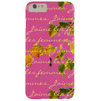 J'aime les femmes with vintage leaves on pink barely there iPhone 6 plus case