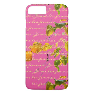 J'aime les femmes with vintage leaves on pink iPhone 7 plus case
