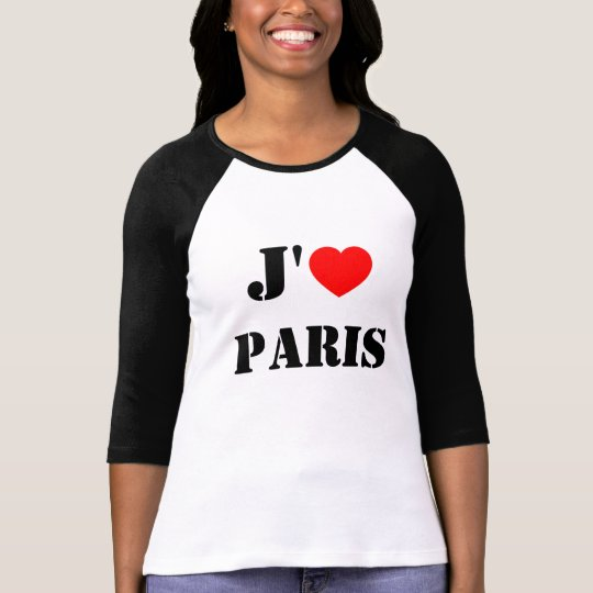 J'aime Paris / I love Paris Baseball T-shirt