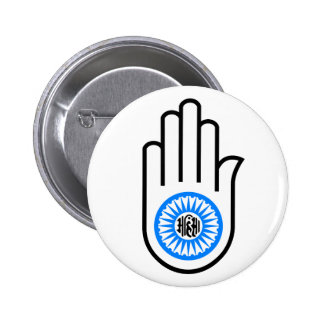Jainism Symbol Hand and Wheel Reading Ahimsa 6 Cm Round Badge
