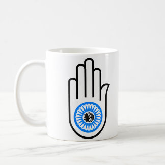 Jainism Symbol Hand and Wheel Reading Ahimsa Coffee Mug