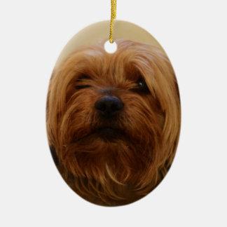 Jake The Yorkie Terrier Christmas Ornament