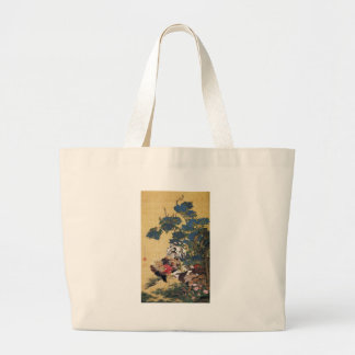 Jakuchu,Rooster and Hen with Hydrangeas Jumbo Tote Bag