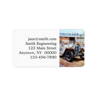 Jalopy racingcar painting address label