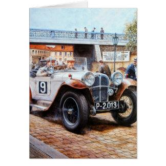 Jalopy racingcar painting greeting card