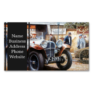 Jalopy racingcar painting magnetic business cards