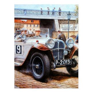 Jalopy racingcar painting postcard