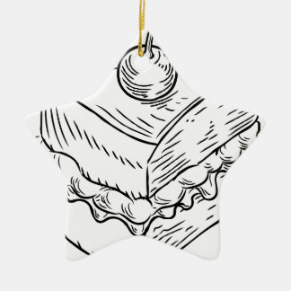 Jam and Cream Cake Vintage Retro Woodcut Style Christmas Ornament
