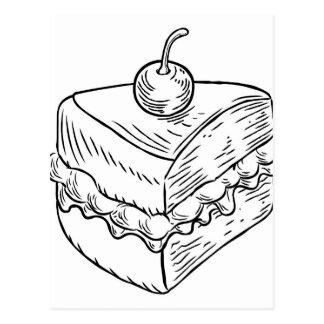 Jam and Cream Cake Vintage Retro Woodcut Style Postcard