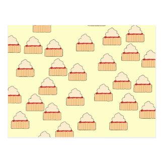 Jam and Cream Scone pattern. Postcard