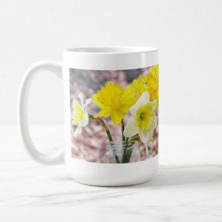 Jam Jar Vase Full Of Daffodils Basic White Mug