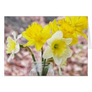 Jam Jar Vase Full Of Daffodils Greeting Card