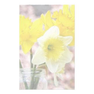Jam Jar Vase Full Of Daffodils Stationery