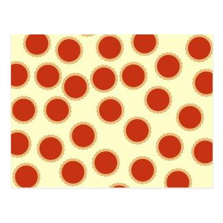 Jam Tart Pattern Strawberry Red Pies Postcards
