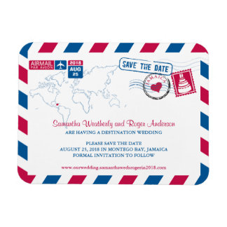 Jamaica Air Mail Wedding Save the Date 3x4 Magnet