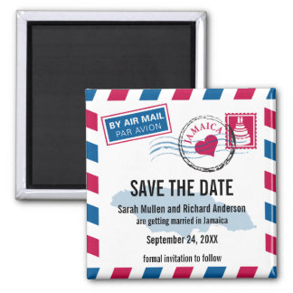 Jamaica Air Mail Wedding Save the Date Magnet