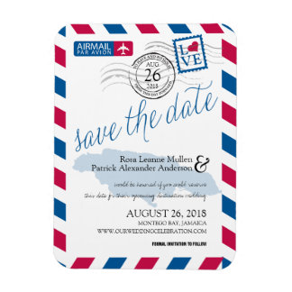 JAMAICA Airmail Save the Date Rectangular Photo Magnet
