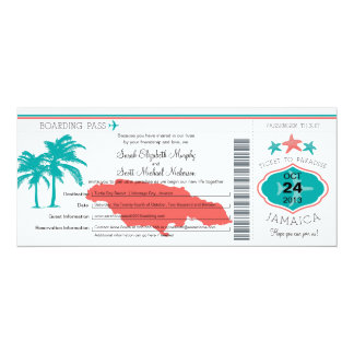 Jamaica Boarding Pass Wedding Card