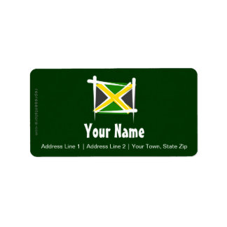 Jamaica Brush Flag Address Label