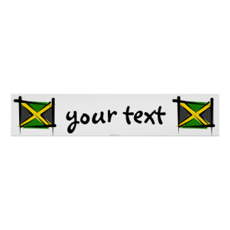 Jamaica Brush Flag Banner Poster