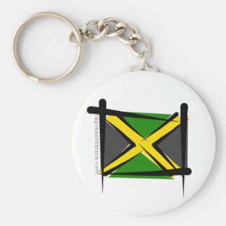 Jamaica Brush Flag Basic Round Button Key Ring