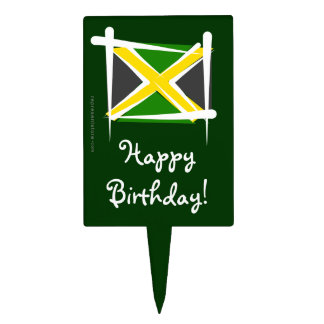 Jamaica Brush Flag Cake Topper