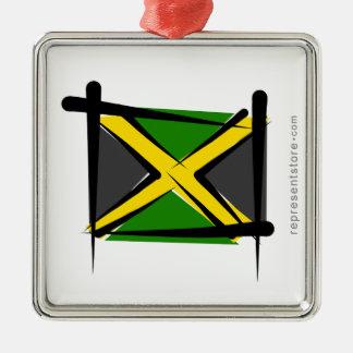 Jamaica Brush Flag Christmas Ornaments