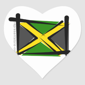 Jamaica Brush Flag Heart Sticker