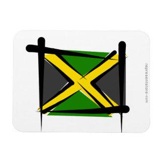 Jamaica Brush Flag Rectangular Magnet