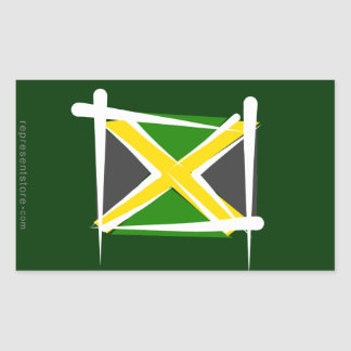 Jamaica Brush Flag Rectangular Sticker