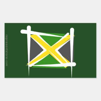 Jamaica Brush Flag Rectangular Sticker