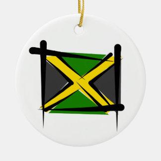 Jamaica Brush Flag Round Ceramic Decoration