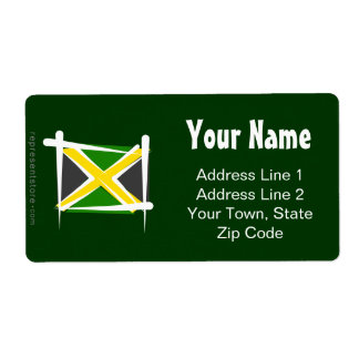Jamaica Brush Flag Shipping Label