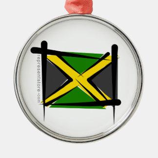 Jamaica Brush Flag Silver-Colored Round Decoration