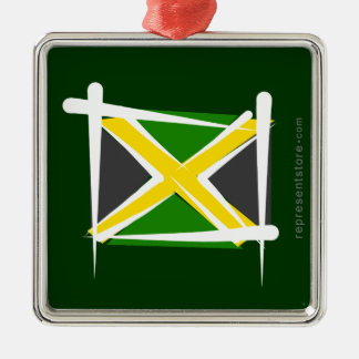 Jamaica Brush Flag Silver-Colored Square Decoration