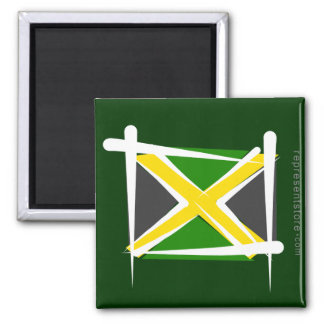 Jamaica Brush Flag Square Magnet