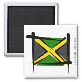 Jamaica Brush Flag Square Magnet