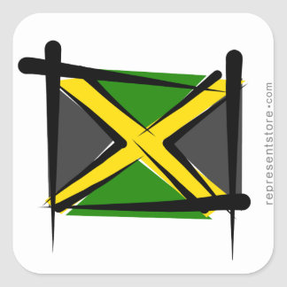 Jamaica Brush Flag Square Sticker