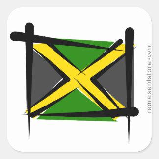 Jamaica Brush Flag Square Sticker