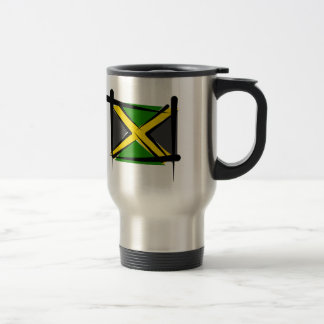 Jamaica Brush Flag Stainless Steel Travel Mug