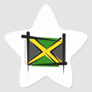 Jamaica Brush Flag Star Sticker