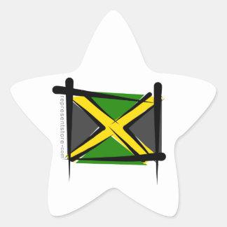 Jamaica Brush Flag Star Sticker