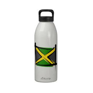 Jamaica Brush Flag Reusable Water Bottles