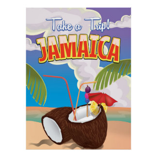 Jamaica Cartoon travel poster