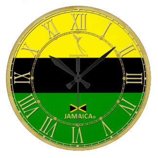 Jamaica Colours Gold Roman Numerals Modern Clock