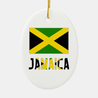 Jamaica  Flag and Word Christmas Ornament