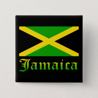 Jamaica Flag, Black, Green and Yellow 15 Cm Square Badge
