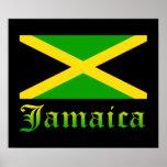 Jamaica Flag, Black, Green and Yellow Print